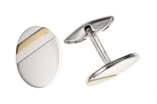 Sterling Silver Oval Shaped Cufflinks With A Gold Plated Stripe